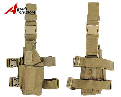Airsoft Tactical Pistol Drop Leg Holster Pouch Bag for Left Hand Tan