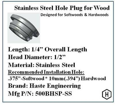 """Stainless Steel Hole Plug (6 Pieces) for 3/8"""" Diameter Holes in Wood"""