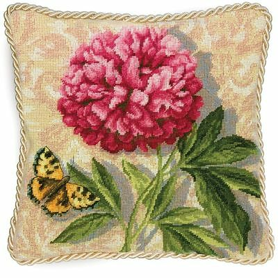Needlepoint Kit Peony Flower Tapestry Pillow By Dimensions