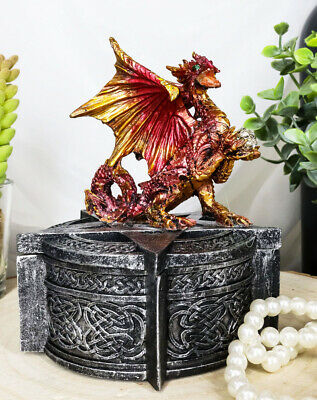 Red Colored Guardian Dragon  On Pentagram Jewelry Box Statue Utility Resin