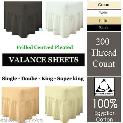 100% Egyptian Cotton Fitted Valance Sheets 200 Thread Count Single Double King