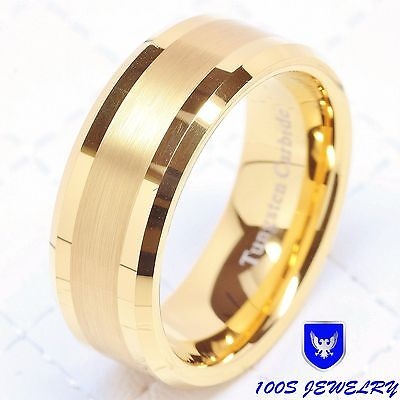 Mens Tungsten Carbide Ring Wedding Band 14k Gold 8mm Jewelry Bridal Size 8-16