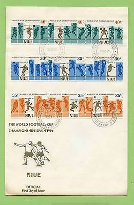 Niue 1981 World Cup Football set (Vertical) First Day Cover