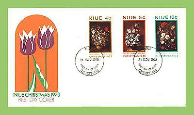 Niue 1973 Christmas flowers set First Day Cover
