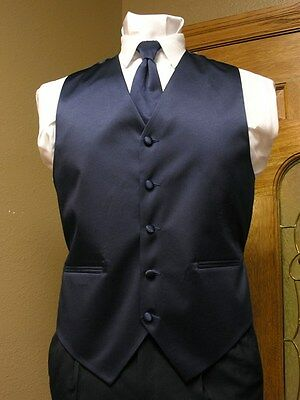 Vest Mens Navy Blue Satin Neck Tie Tuxedo Steampunk Wedding Prom Full Back