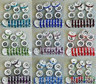 6mm 8mm 10mm 12mm 100pcs Czech Crystal Rhinestone Silver Rondelle Spacer Beads