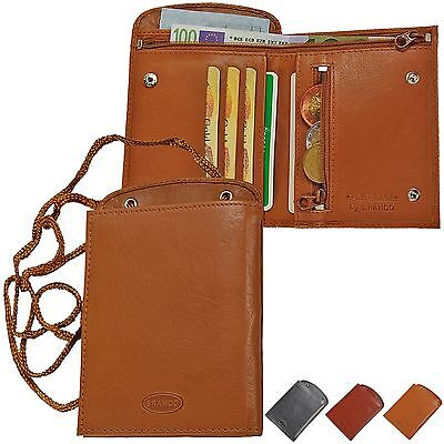 Branco Brustbeutel Leder Brusttasche Umhängebeutel Geldbeutel Security Wallet