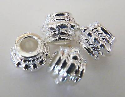 50pcs 8x6mm Metal Alloy Drum Spacer Beads - Bright Silver