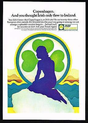 1969 Mermaid Figure Clover Leaf Copenhagen Irish Aer Lingus Airlines Ad