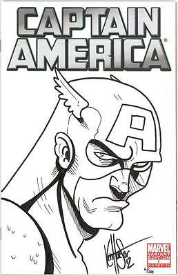 Captain America #1 Blank Variant Df Dynamic Forces Signed Remarked Sketch Coa