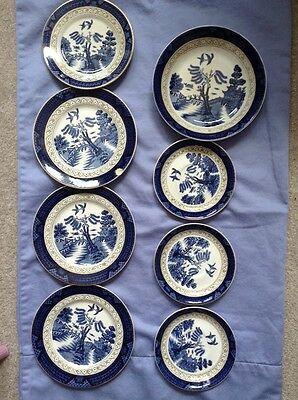 BLUE WILLOW OCCUPIED JAPAN IRONSTONE WARE SAUCERS AND SMALL PLATES Bowl Set 8