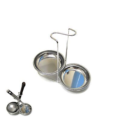 New Stainless Steel Double Ladle Holder Cooking Utensils Stand Tray Spoon Rest