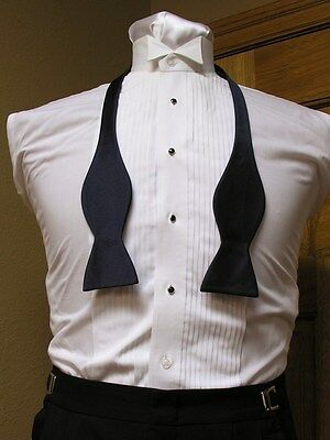 Self Tie Bow Tie Navy Blue Matte Satin Tuxedo Wedding Prom Groom Retro