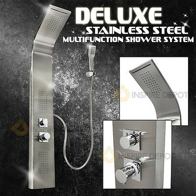 Stainless Steel Shower Panel Thermostatic Tower Overhead Massage Jet Rainfall HD