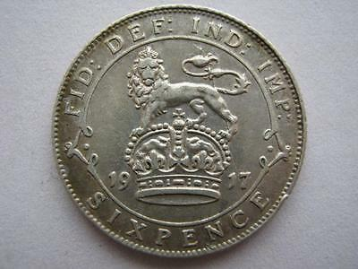 1917 George V silver Sixpence, GVF.