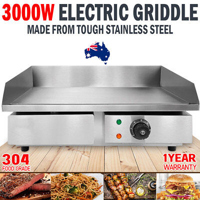 NEW Electric Griddle Grill Hot Plate Stainless Steel Grill Large Smooth Plate
