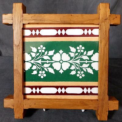 Great framed Minton Flower tile probably designed by A.W.N. Pugin.