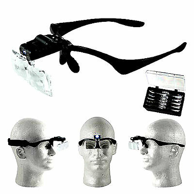 LED Head Magnifier Multi-Power 1x-3.5x Interchangeable Flip-Up Acrylic Lens 350