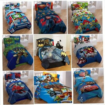 4pc Kids Bed Room TWIN COMFORTER+SHEETS SET Boys Movie Characters Sheet Complete