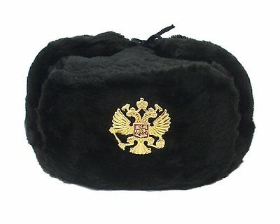 Authentic Russian Military KGB Ushanka Hat W/ Imperial Eagle Badge Included