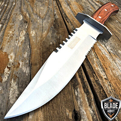 "11"" Wood Hunting Survival Skinning Fixed Blade Knife Full Tang Army Bowie"