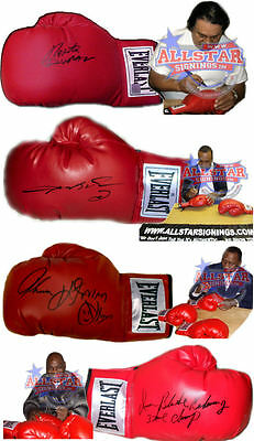 4 Signed Boxing Gloves Ray Leonard Thomas Hearns Roberto Duran Iran Barkley