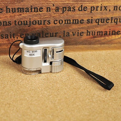 Mini 60X LED Light Jeweler Magnifier Loupe Microscope w/ UV Currency Detector