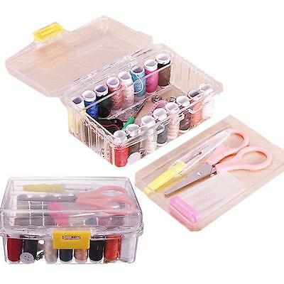 40Pcs Threader Needle Thread Tape Measure Scissor Thimble Storage Box Sewing Kit