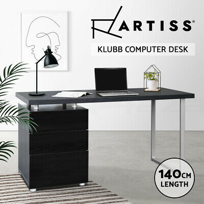 Office Computer Desk Table Home Metal Student Study 3 Drawer Cabinet Black