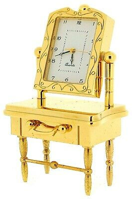 Miniature Gold Plated Solid Brass Dressing Table Novelty Collectors Clock IMP41