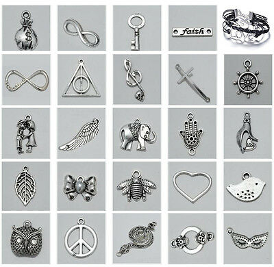 NEW 10Pcs Tibetan Silver Charms Beads Pendant Fit DIY Bracelet Jewellery Finding