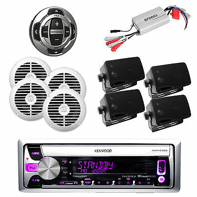 New KMR-D372 Mp3 CD Pandora USB iPhone Radio,800W Amp,Wired Remote& 8 Speakers
