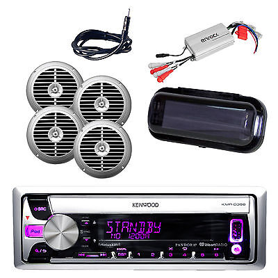 """New Marine CD/AM/FM USB AUX Input 6.5"""" Silver Speakers, 800W Amp, Antenna, Cover"""