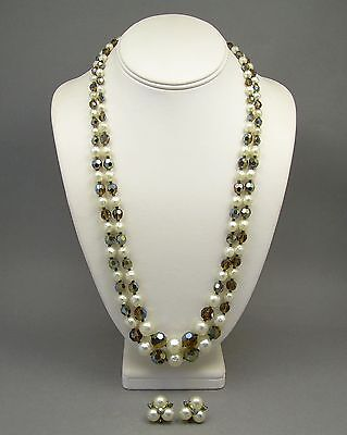 Vintage Signed Sherman Brown Crystal Glass Bead Faux Pearl Earrings and Necklace