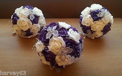 Wedding Bouquet Flowers  Bride & 2x Bridesmaids Cadbury Purple & Ivory Hand Made