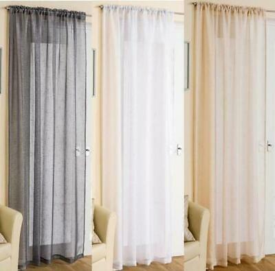 Sparkly Casablanca  Sheer Voile Slot Top Curtain Panel ~ 48/54/72/90 In Stock