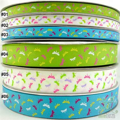 mixed colors dragonfly cartoon grosgrain ribbon craft sewing U pick 9mm &25mm