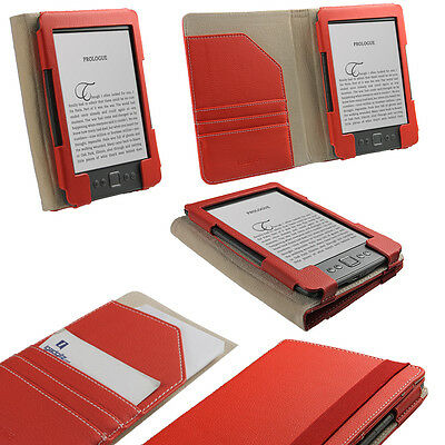 """Red PU Leather Case Cover for Amazon Kindle 4 Wi-Fi 6"""" E Ink Display Holder"""