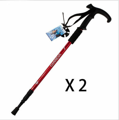 1 x RED ANTISHOCK TREKKING WALKING HIKING ADJUSTABLE STICK POLE TY5470