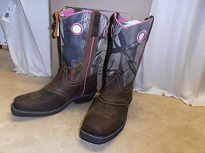 Ladies Women's Pink Brown Camo Leather Cowboy Cowgirl Boots 6 7 8 9 10 11