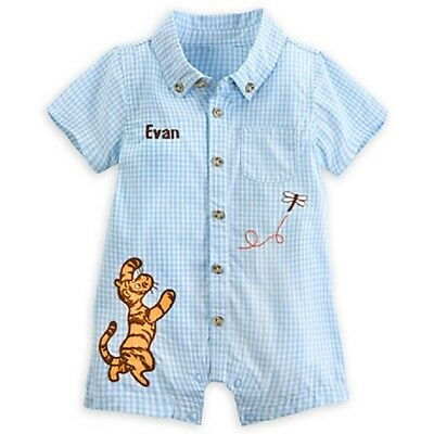 DISNEY STORE WINNIE POOH WOVEN CHAMBRAY ROMPER SET FOR BABY NWT ~ SO ADORABLE!