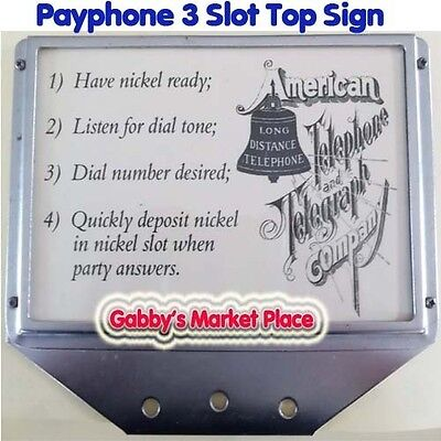 3 Slot Payphone Top Sign with Direction Card