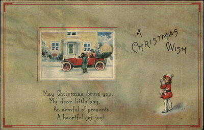 CHRSITMAS WISH Little Girl Old Car Stately Home CHRISTMAS SEAL c1910 Postcard