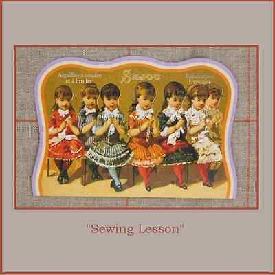 "Sajou Replica Vintage Needle Card  ""Sewing Lesson"""