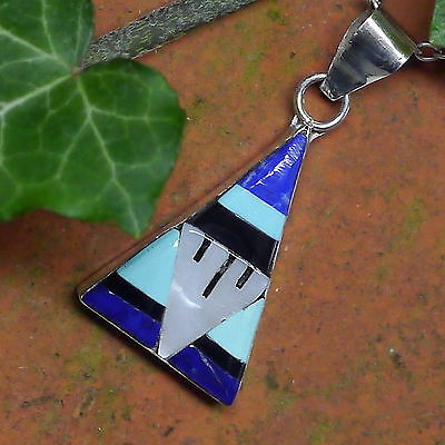 authentic native Zuni Triangle  Anhänger Sterlingsilber Inlay Don Dewa signiert