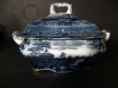 """Ridgways """"grecian"""" Flow Blue Square Covered Bowl  **rare**"""