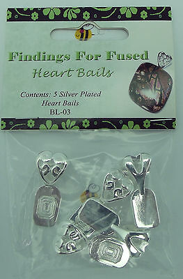 HEART BAILS Large Findings for Fused Glass SILVER PLATED Glue On Five Pieces