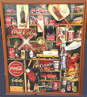 "COKE PUZZLE Poster COCA COLA 42"" x 34"" Wood Framed & Mounted - READY TO HANG UP!"