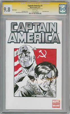 Captain America #1 Cgc 9.8 Signature Series Mike Perkins Winter Soldier Sketch