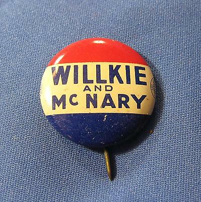 Vtg Willkie and McNary President  Republican Pin Pinback Button Green Duck 1940